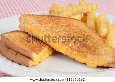 closeup grilled cheese sandwich with fries - stock photo