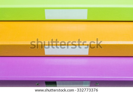 Closeup group of coloreful document file background - stock photo