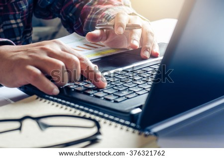Closeup hand are using laptops  - stock photo