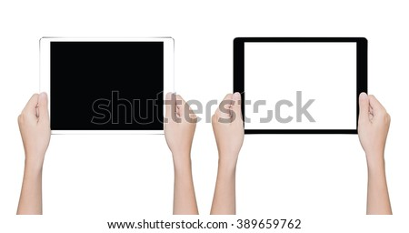 closeup hand holding tablet similar to ipades isolated white clipping path inside - stock photo