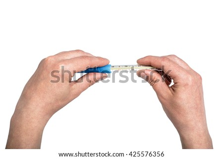 Closeup hand holding traditional thermometer, showing fever temperature, isolated on white background, medicine healthcare thermometer for measuring body temperature