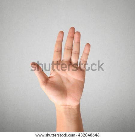 Closeup hand showing five count - stock photo