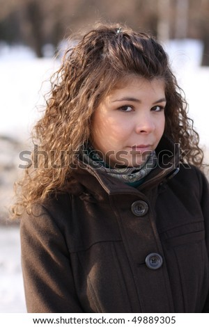 closeup head of the girl in cold winter - stock photo