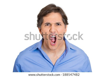 Closeup headshot portrait angry, upset, young worker, mad employee, funny looking business man, open mouth yelling, isolated white background. Negative emotions, facial expression, reaction - stock photo