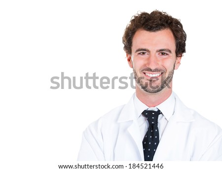 Closeup headshot portrait, friendly, smiling, confident male, man health care professional, isolated white background. Patient visit. Positive human face expression, attitude - stock photo