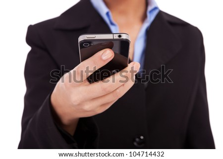 closeup image of a business woman texting on a smartphone on white background - stock photo