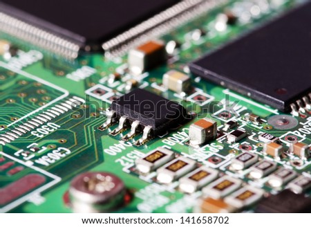 Closeup image of a circuit board - stock photo