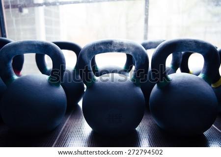 Closeup image of a kettle balls - stock photo