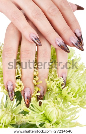 Closeup image of beautiful nails and woman fingers