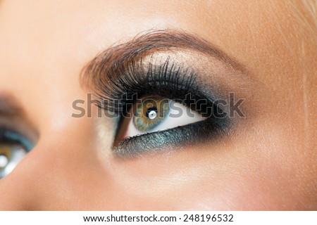Closeup image of beautiful woman eye with fashion  makeup - stock photo