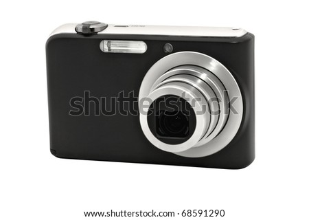 Closeup image of digital compact camera, isolated on white background