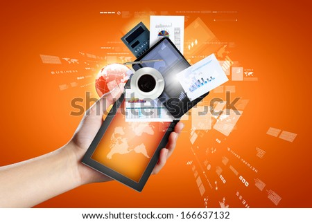 Closeup image of human hands holding ipad - stock photo