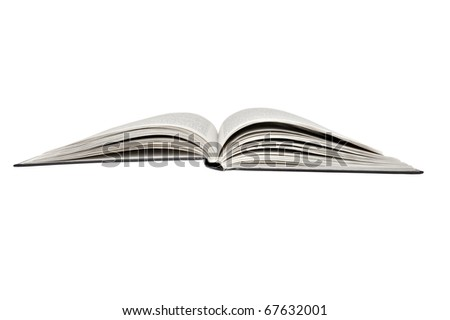 Closeup image of open book, isolated on white background - stock photo