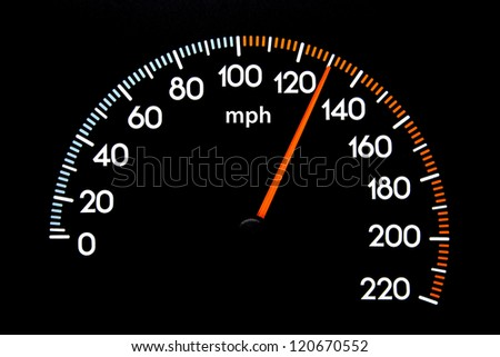Closeup image of Speedometer with needle displaying 130 mph