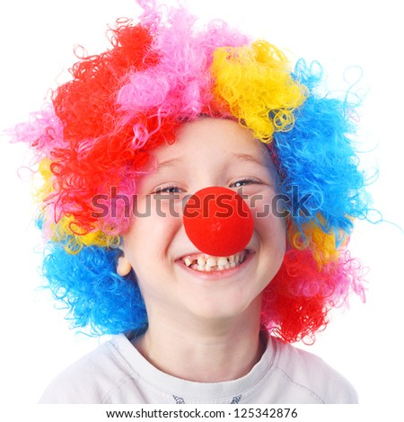closeup image of the cute little clown boy - stock photo