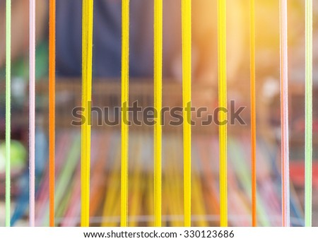 closeup image of weaving Loom, details. - stock photo