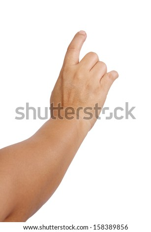 Closeup image of woman hand and point to front on white background