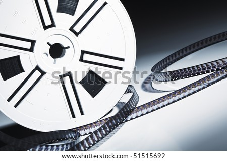 closeup image on old 8mm film background - stock photo