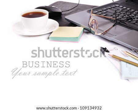 Closeup image with cup of coffee and laptop