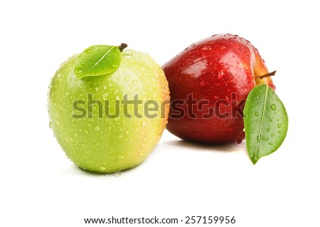 closeup isolated red and green apples - stock photo
