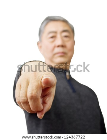 Closeup isolation photo of senior Chinese man showing ok and good with fingers - stock photo