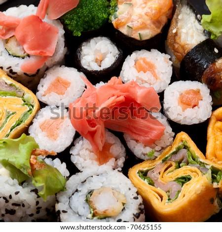 Closeup japanese sushi. Series japanese food - stock photo