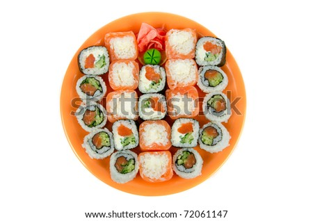 Closeup japanese sushi. Top view on a white - stock photo