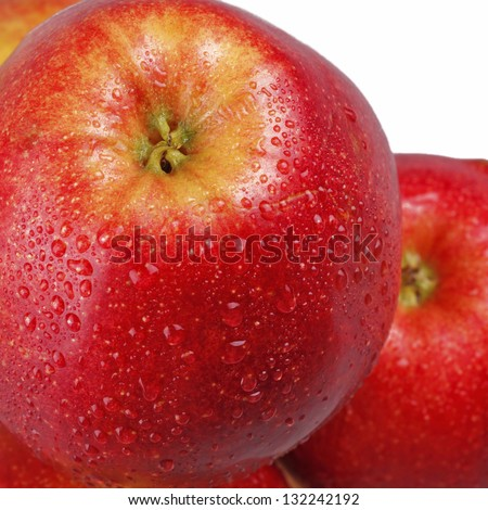 closeup juicy red apples isolated on white background - stock photo