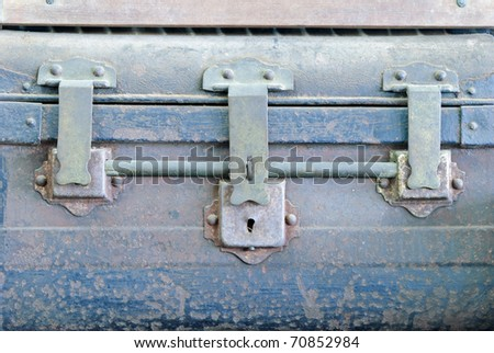 closeup Keyhole of old chest - stock photo