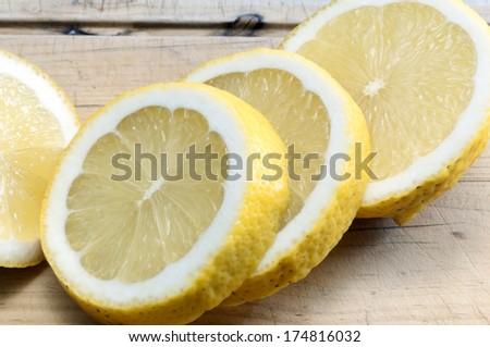 Closeup lemon slices - stock photo