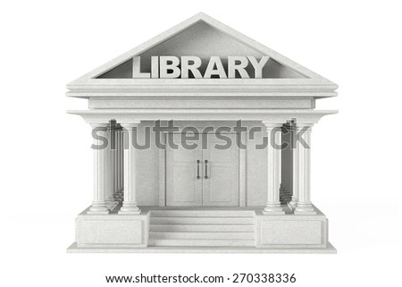 Closeup Library Building on a white background