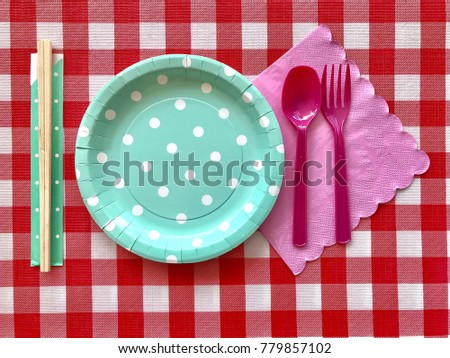 Closeup light green polka dot paper plate with wooden chopsticks and pink spoonfork  sc 1 st  Shutterstock : light green paper plates - pezcame.com