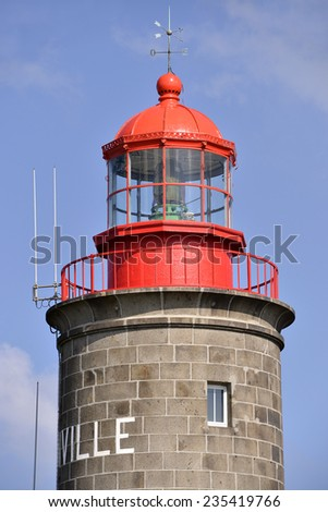 Closeup lighthouse of Granville, a commune in the Manche department in Lower Normandy in north-western France. - stock photo