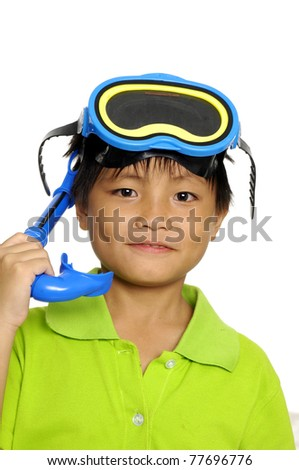Closeup little boy wearing mask and snorkel, smiling - stock photo