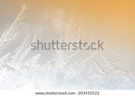 closeup macro of ice crystals on glass for background or texture - stock photo