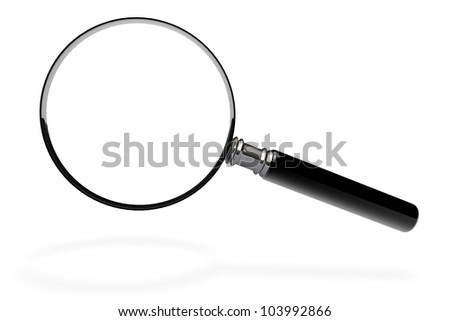 Closeup magnifying glass on a white background - stock photo
