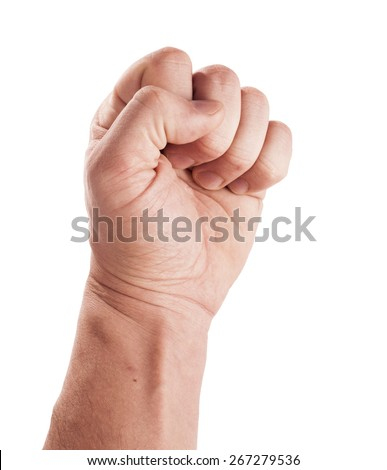 Closeup man's hand isolated on white background - stock photo
