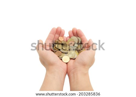 closeup man's hands holding world coins isolated on white background, human hands and saving concepts - stock photo