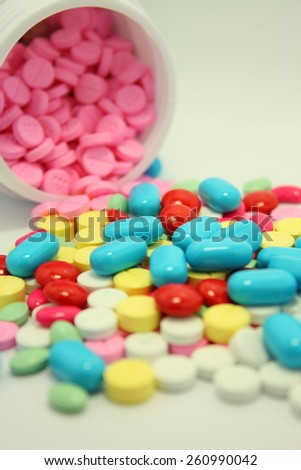 closeup many colorful medicine pills with medicine bottle isolated on white background