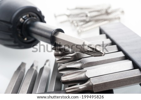 closeup many type of screwdriver head - stock photo