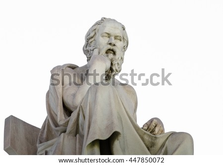 Closeup Marble Statue of the Philosopher Socrates on White - stock photo