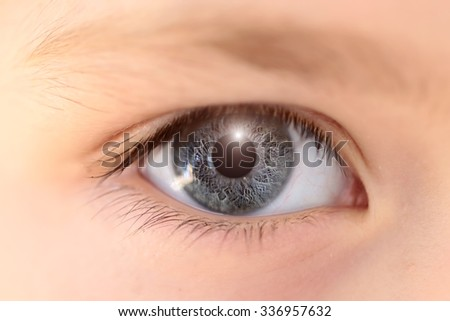Closeup medical view of one human male or female open eye looking with long lashes and white skin and beautiful color, horizontal picture - stock photo