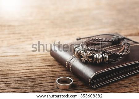 closeup men's leather bracelet  - stock photo