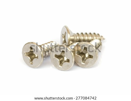 Closeup metal screw isolated on white background.