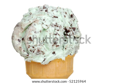 closeup mint chocolate chip ice cream shallow DOF - stock photo