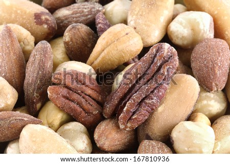 Closeup Mix of Roasted and Salted Nuts - stock photo