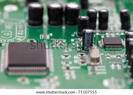 Closeup modem , view of  electronic circuit boards.
