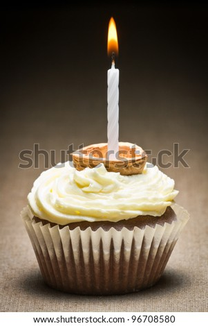 Closeup muffin with candle in nut shell