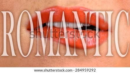 Closeup of a beautiful female lips - stock photo