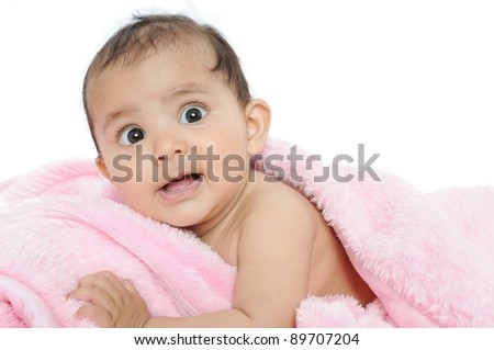 Closeup of a beautiful Indian baby/kid. - stock photo